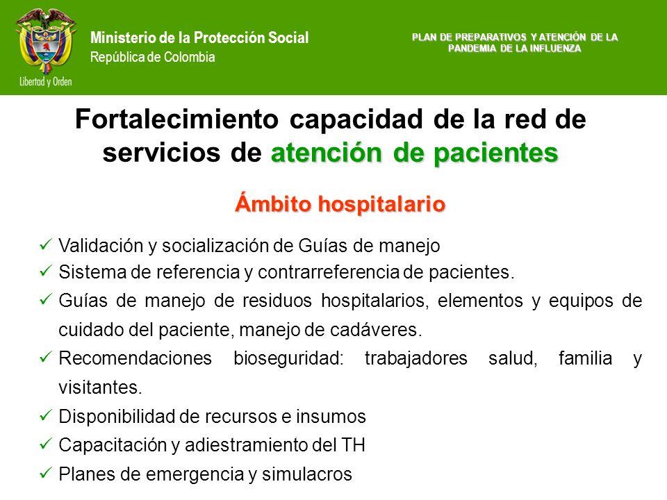Ministerio de la Protección Social República de Colombia Ámbito hospitalario Validación y socialización de Guías de manejo Sistema de referencia y con
