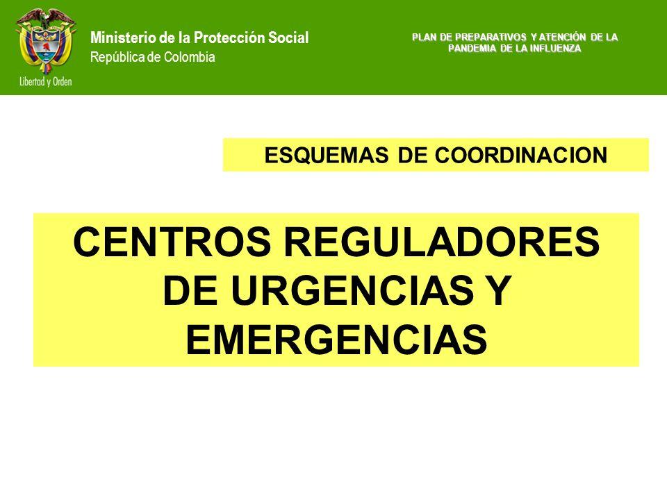 Ministerio de la Protección Social República de Colombia CENTROS REGULADORES DE URGENCIAS Y EMERGENCIAS ESQUEMAS DE COORDINACION PLAN DE PREPARATIVOS