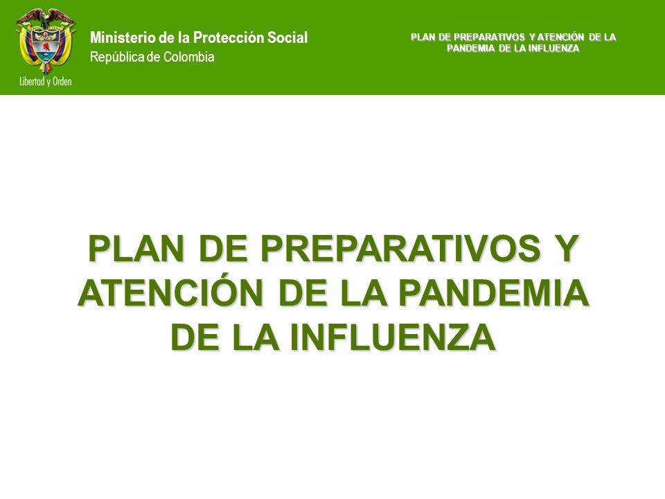 Ministerio de la Protección Social República de Colombia PLAN DE PREPARATIVOS Y ATENCIÓN DE LA PANDEMIA DE LA INFLUENZA Fuente: registro prestadores de servicios de salud 2004 MPS SERVICIO DECLARADONÚMERO DE SERVICIOS DISTRIBUCIÓN PORCENTUAL Odontología12.93454,87 Medicina general5.10621,66 Fisioterapia1.6577,03 Psicología1.5286,48 Terapia respiratoria1.0564,48 Fonoaudilogía6002,55 Terapia del lenguaje2911,23 Terapia ocupacional2801,19 Enfermería1190,50 Distribución porcentual de los servicios declarados por profesionales independientes