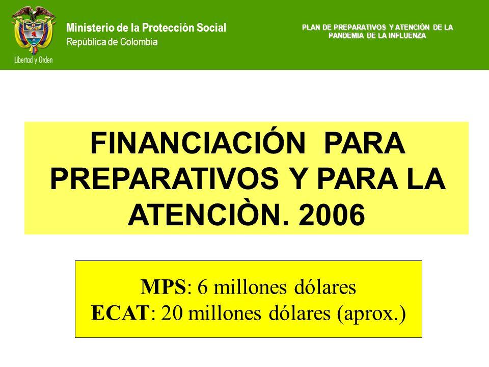 Ministerio de la Protección Social República de Colombia FINANCIACIÓN PARA PREPARATIVOS Y PARA LA ATENCIÒN. 2006 PLAN DE PREPARATIVOS Y ATENCIÓN DE LA