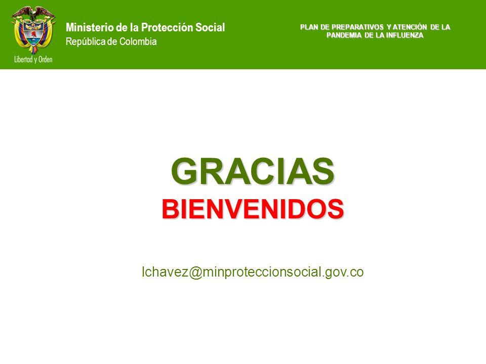 Ministerio de la Protección Social República de Colombia GRACIAS BIENVENIDOS GRACIAS BIENVENIDOS lchavez@minproteccionsocial.gov.co PLAN DE PREPARATIV