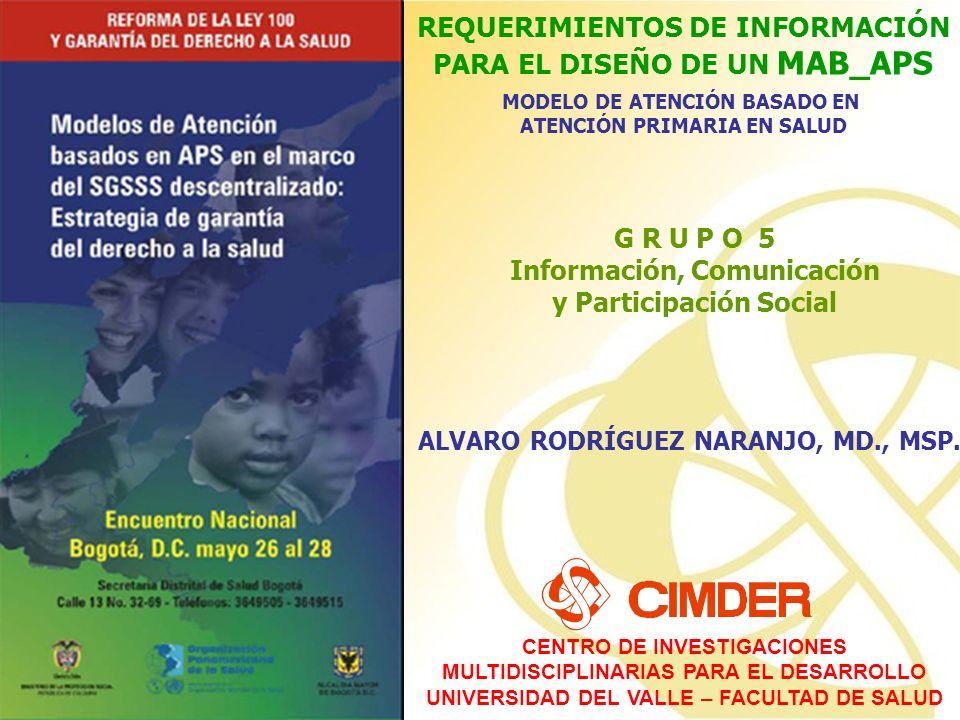 CENTRO DE INVESTIGACIONES MULTIDISCIPLINARIAS PARA EL DESARROLLO UNIVERSIDAD DEL VALLE – FACULTAD DE SALUD REQUERIMIENTOS DE INFORMACIÓN PARA EL DISEÑO DE UN MAB_APS MODELO DE ATENCIÓN BASADO EN ATENCIÓN PRIMARIA EN SALUD REQUERIMIENTOS DE INFORMACIÓN PARA EL DISEÑO DE UN MAB_APS MODELO DE ATENCIÓN BASADO EN ATENCIÓN PRIMARIA EN SALUD ALVARO RODRÍGUEZ NARANJO, MD., MSP.