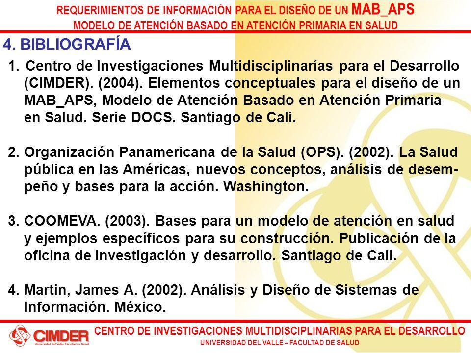 CENTRO DE INVESTIGACIONES MULTIDISCIPLINARIAS PARA EL DESARROLLO UNIVERSIDAD DEL VALLE – FACULTAD DE SALUD REQUERIMIENTOS DE INFORMACIÓN PARA EL DISEÑO DE UN MAB_APS MODELO DE ATENCIÓN BASADO EN ATENCIÓN PRIMARIA EN SALUD 4.