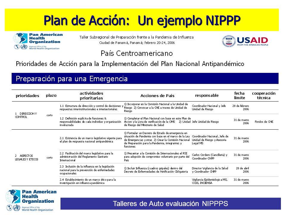 Plan de Acción: Un ejemplo NIPPP Talleres de Auto evaluación NIPPPS