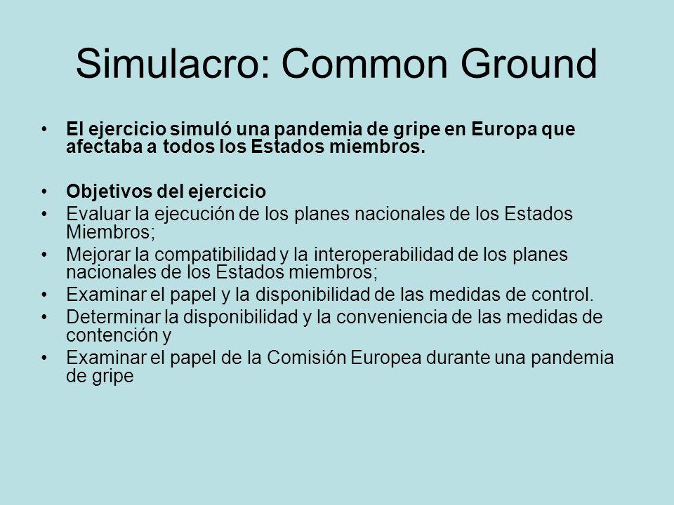 Simulacro: Common Ground El ejercicio simuló una pandemia de gripe en Europa que afectaba a todos los Estados miembros. Objetivos del ejercicio Evalua