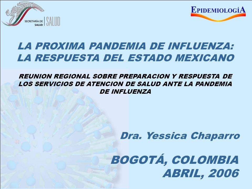 MEXICO ANTE LA PANDEMIA DE INFLUENZA BOGOTÁ, COLOMBIA ABRIL, 2006 LA PROXIMA PANDEMIA DE INFLUENZA: LA RESPUESTA DEL ESTADO MEXICANO Dra. Yessica Chap