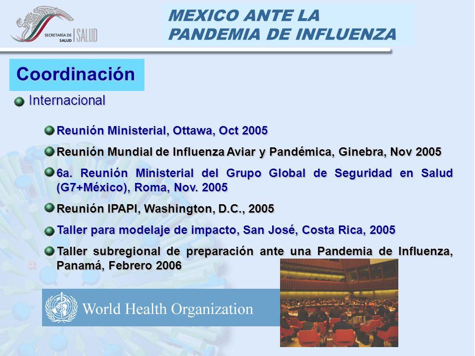 MEXICO ANTE LA PANDEMIA DE INFLUENZA Coordinación Internacional Internacional Reunión Ministerial, Ottawa, Oct 2005Reunión Ministerial, Ottawa, Oct 2005 Reunión Mundial de Influenza Aviar y Pandémica, Ginebra, Nov 2005Reunión Mundial de Influenza Aviar y Pandémica, Ginebra, Nov 2005 6a.