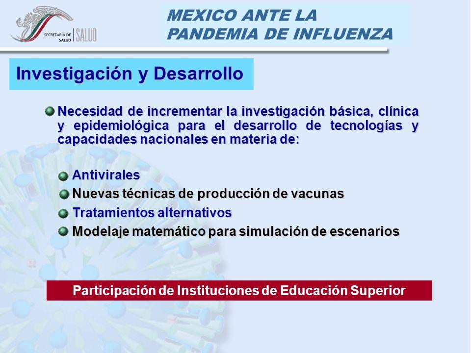MEXICO ANTE LA PANDEMIA DE INFLUENZA Necesidad de incrementar la investigación básica, clínica y epidemiológica para el desarrollo de tecnologías y ca