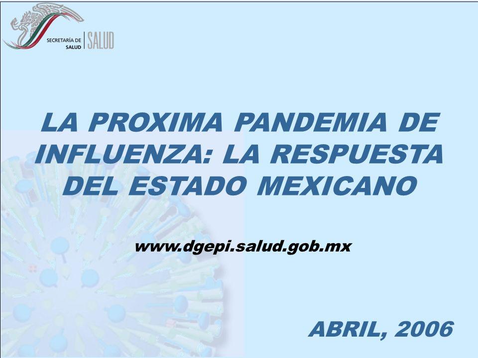 MEXICO ANTE LA PANDEMIA DE INFLUENZA ABRIL, 2006 LA PROXIMA PANDEMIA DE INFLUENZA: LA RESPUESTA DEL ESTADO MEXICANO www.dgepi.salud.gob.mx