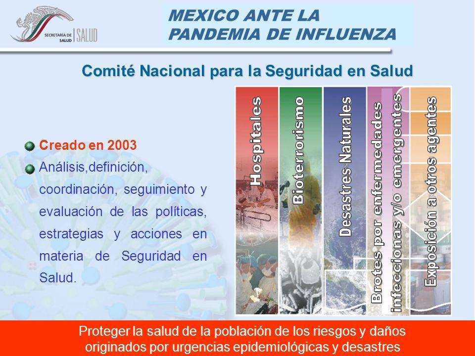 MEXICO ANTE LA PANDEMIA DE INFLUENZA Creado en 2003 Análisis,definición, coordinación, seguimiento y evaluación de las políticas, estrategias y accion