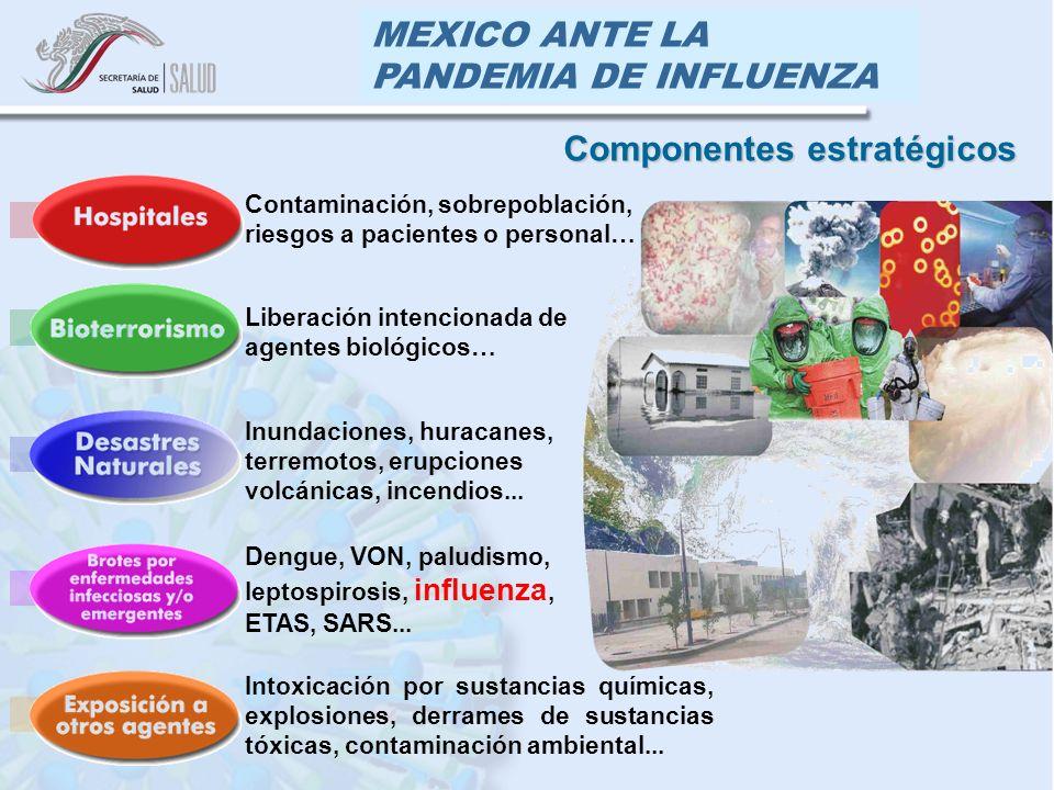 MEXICO ANTE LA PANDEMIA DE INFLUENZA Componentes estratégicos Inundaciones, huracanes, terremotos, erupciones volcánicas, incendios... Intoxicación po