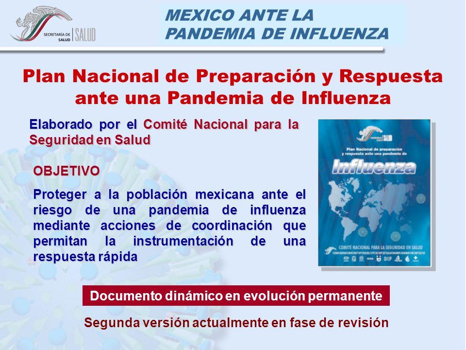 MEXICO ANTE LA PANDEMIA DE INFLUENZA OBJETIVO Proteger a la población mexicana ante el riesgo de una pandemia de influenza mediante acciones de coordi