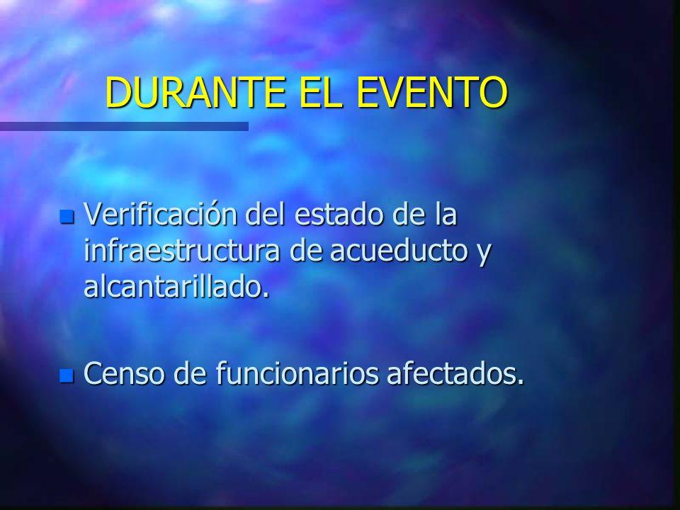 n Verificación del estado de la infraestructura de acueducto y alcantarillado. n Censo de funcionarios afectados. DURANTE EL EVENTO