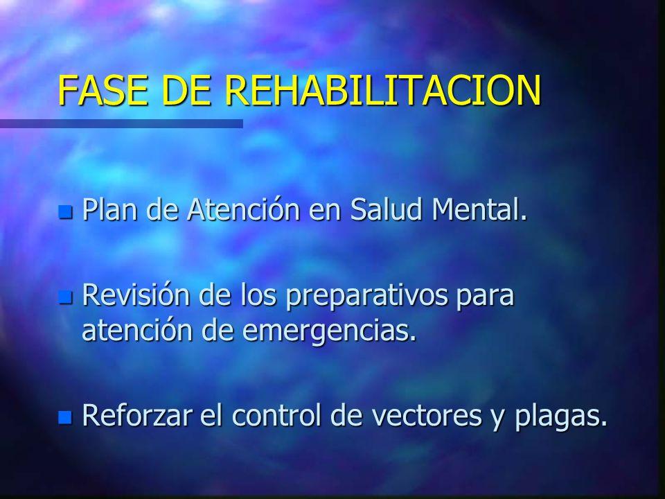n Plan de Atención en Salud Mental. n Revisión de los preparativos para atención de emergencias. n Reforzar el control de vectores y plagas. FASE DE R