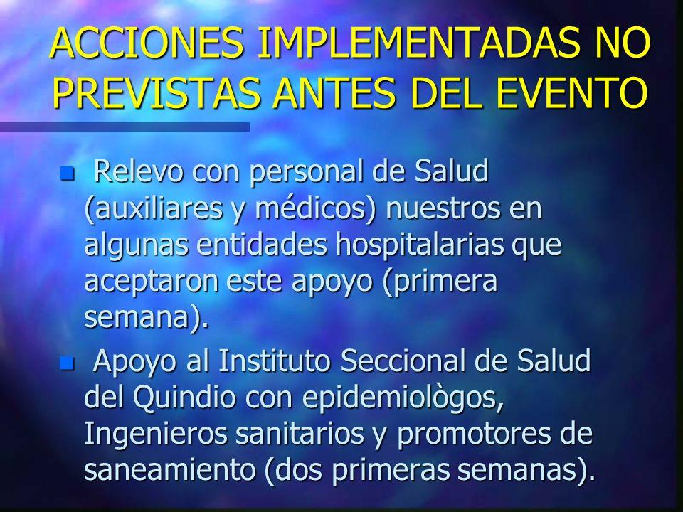 ACCIONES IMPLEMENTADAS NO PREVISTAS ANTES DEL EVENTO n Relevo con personal de Salud (auxiliares y médicos) nuestros en algunas entidades hospitalarias
