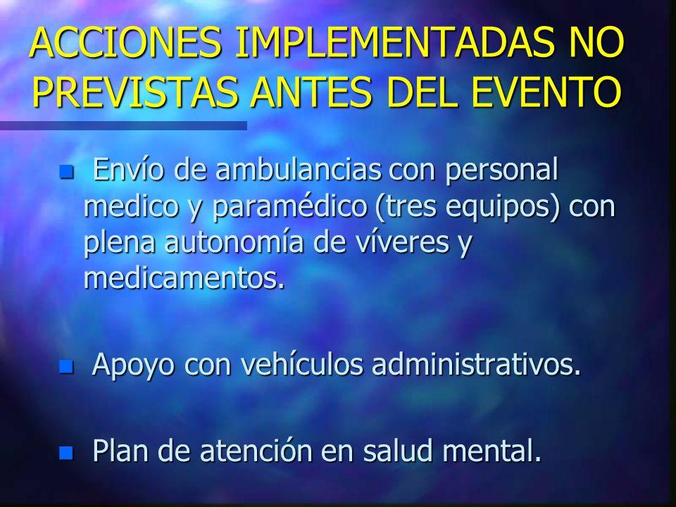 n Envío de ambulancias con personal medico y paramédico (tres equipos) con plena autonomía de víveres y medicamentos. n Apoyo con vehículos administra