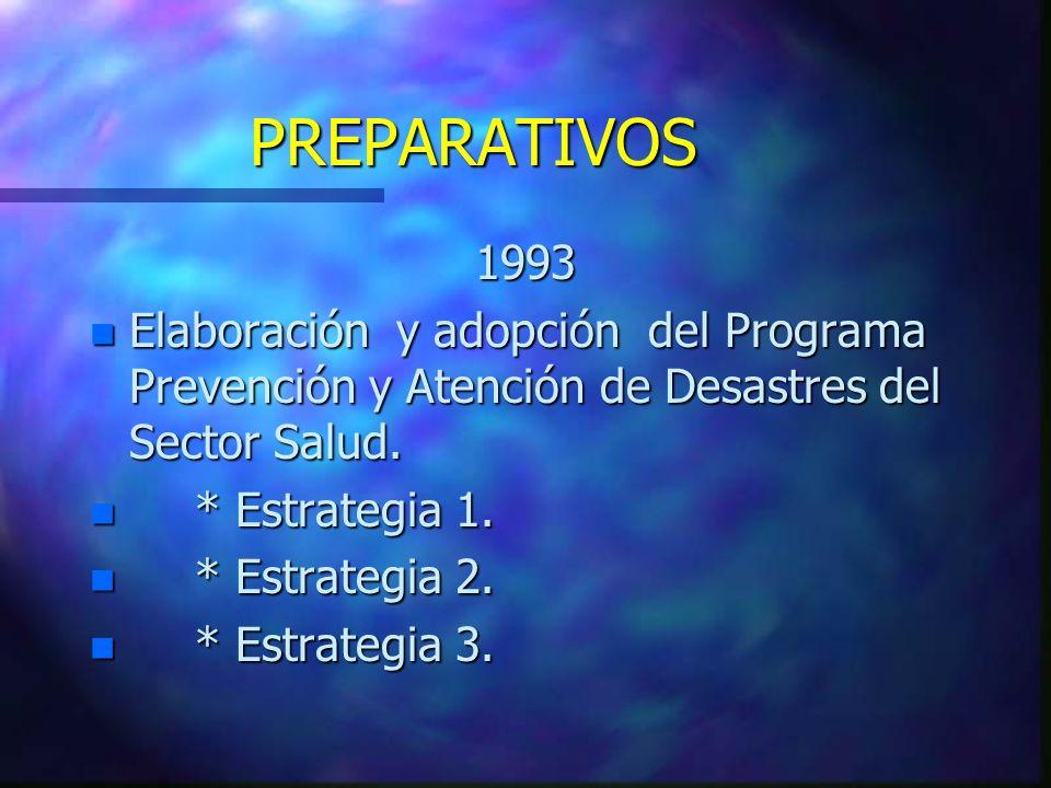 PREPARATIVOS 1993 n Elaboración y adopción del Programa Prevención y Atención de Desastres del Sector Salud. n * Estrategia 1. n * Estrategia 2. n * E