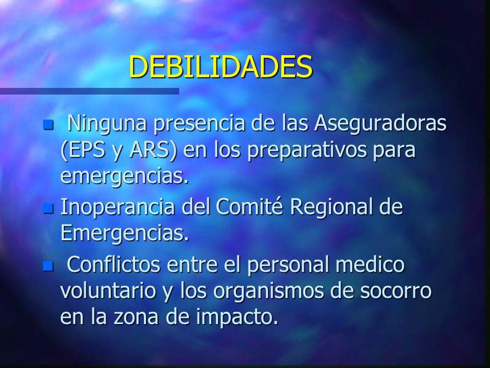 n Ninguna presencia de las Aseguradoras (EPS y ARS) en los preparativos para emergencias. n Inoperancia del Comité Regional de Emergencias. n Conflict