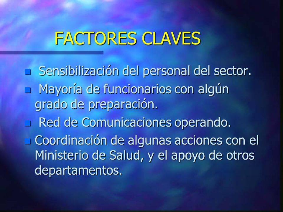 FACTORES CLAVES n Sensibilización del personal del sector.