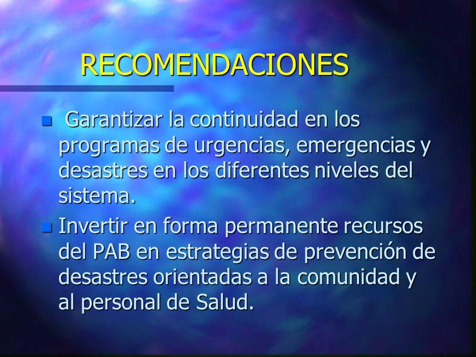RECOMENDACIONES n Garantizar la continuidad en los programas de urgencias, emergencias y desastres en los diferentes niveles del sistema.