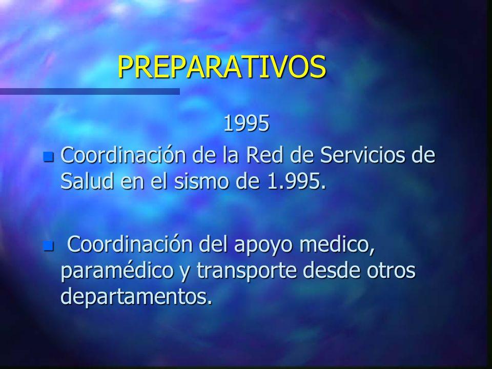 PREPARATIVOS 1995 n Coordinación de la Red de Servicios de Salud en el sismo de 1.995. n Coordinación del apoyo medico, paramédico y transporte desde