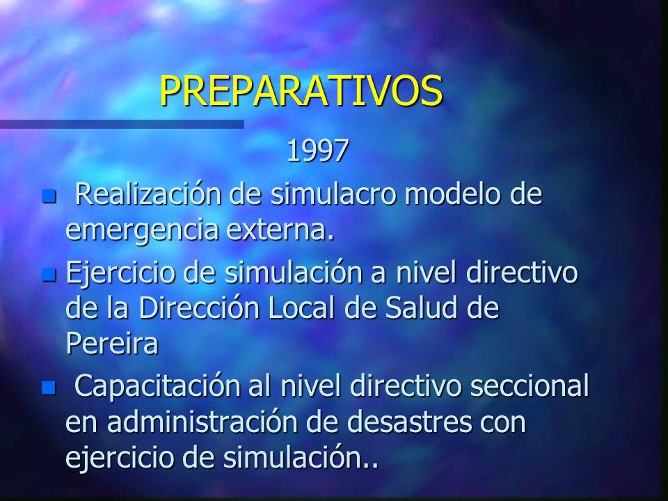 PREPARATIVOS 1997 n Realización de simulacro modelo de emergencia externa. n Ejercicio de simulación a nivel directivo de la Dirección Local de Salud