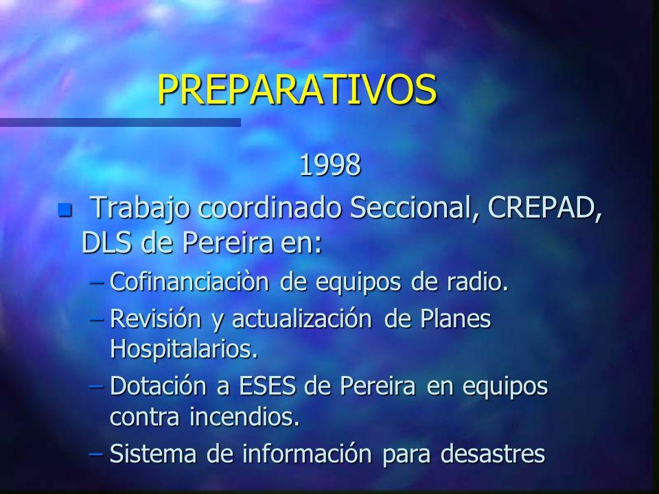 PREPARATIVOS 1998 n Trabajo coordinado Seccional, CREPAD, DLS de Pereira en: –Cofinanciaciòn de equipos de radio. –Revisión y actualización de Planes