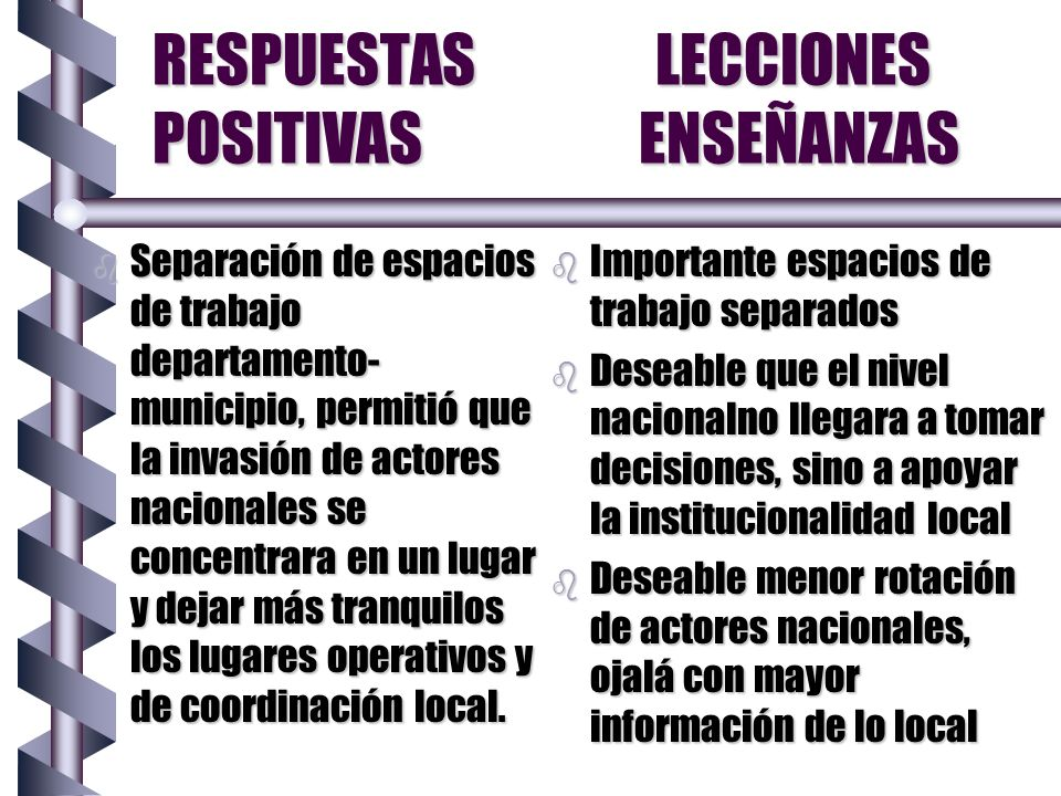 RESPUESTAS LECCIONES POSITIVAS ENSEÑANZAS b Separación de espacios de trabajo departamento- municipio, permitió que la invasión de actores nacionales