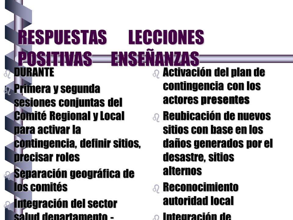 RESPUESTAS LECCIONES POSITIVAS ENSEÑANZAS b DURANTE b Primera y segunda sesiones conjuntas del Comité Regional y Local para activar la contingencia, d