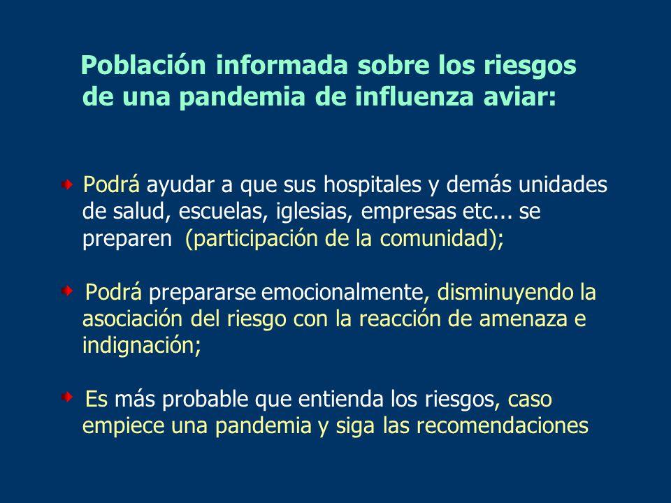 Población informada sobre los riesgos de una pandemia de influenza aviar: Podrá ayudar a que sus hospitales y demás unidades de salud, escuelas, igles