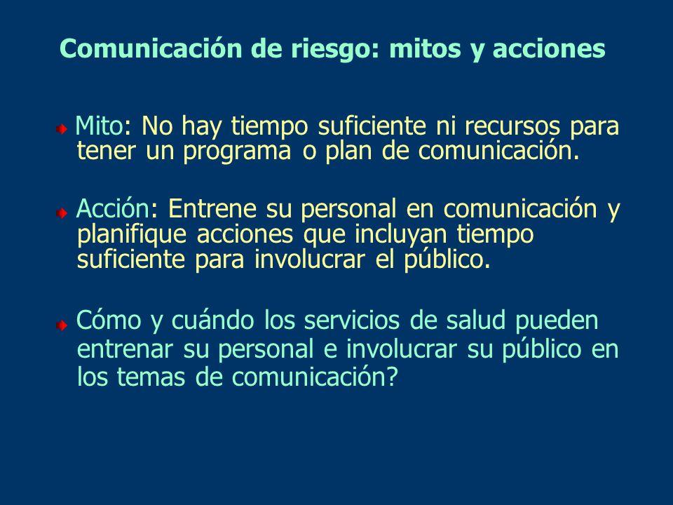 Comunicación de riesgo: mitos y acciones Mito: No hay tiempo suficiente ni recursos para tener un programa o plan de comunicación. Acción: Entrene su