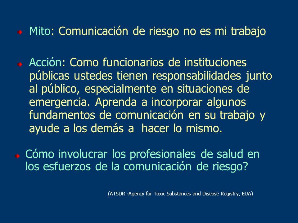 Mito: Comunicación de riesgo no es mi trabajo Acción: Como funcionarios de instituciones públicas ustedes tienen responsabilidades junto al público, e