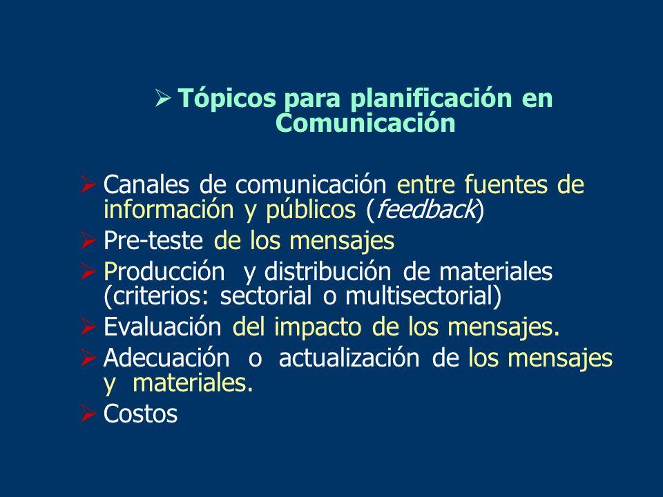 Tópicos para planificación en Comunicación Canales de comunicación entre fuentes de información y públicos (feedback) Pre-teste de los mensajes Produc