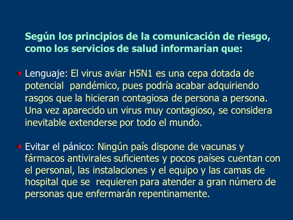 Según los principios de la comunicación de riesgo, como los servicios de salud informarían que: Lenguaje: El virus aviar H5N1 es una cepa dotada de po