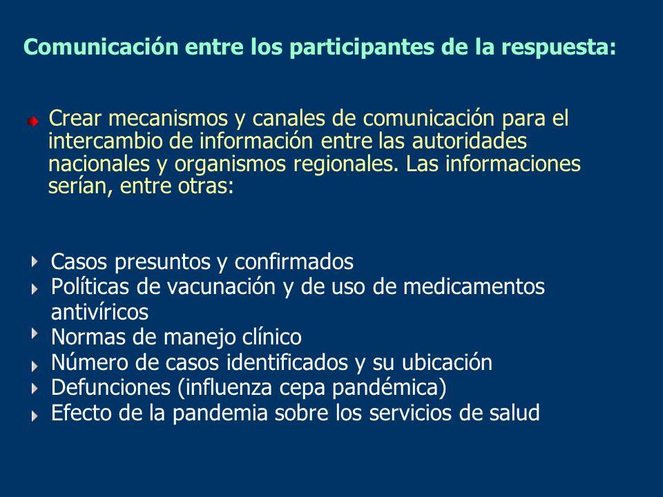 Comunicación entre los participantes de la respuesta: Crear mecanismos y canales de comunicación para el intercambio de información entre las autorida