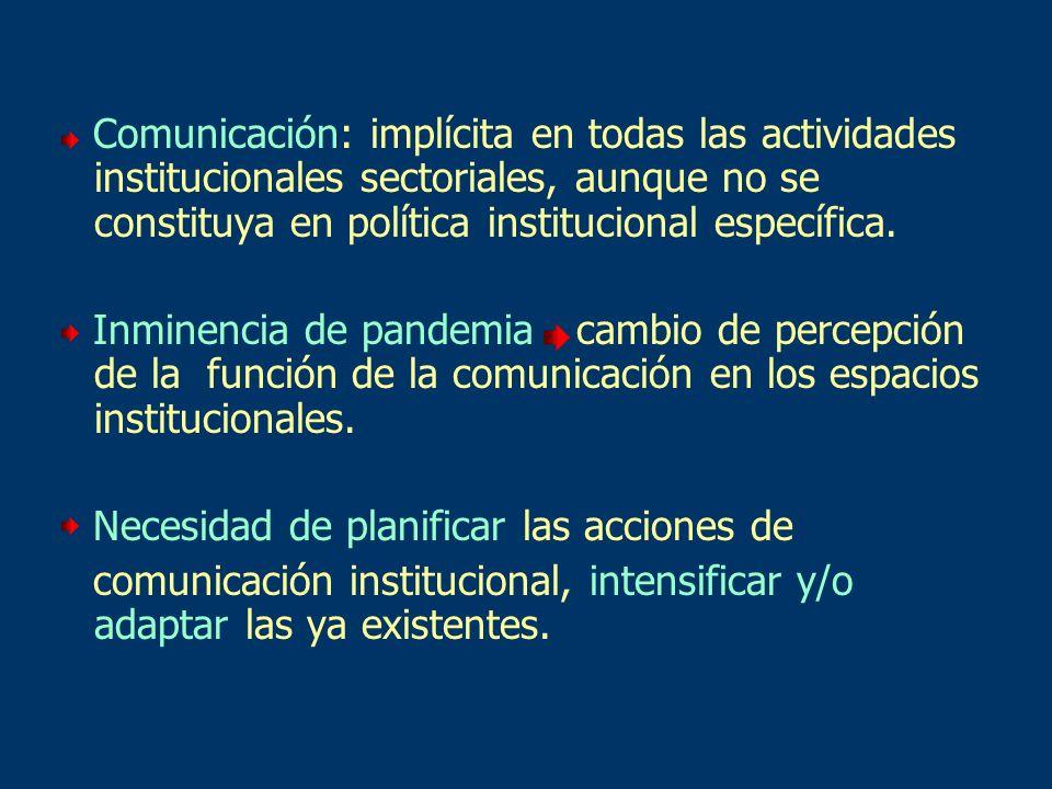 Comunicación: implícita en todas las actividades institucionales sectoriales, aunque no se constituya en política institucional específica. Inminencia