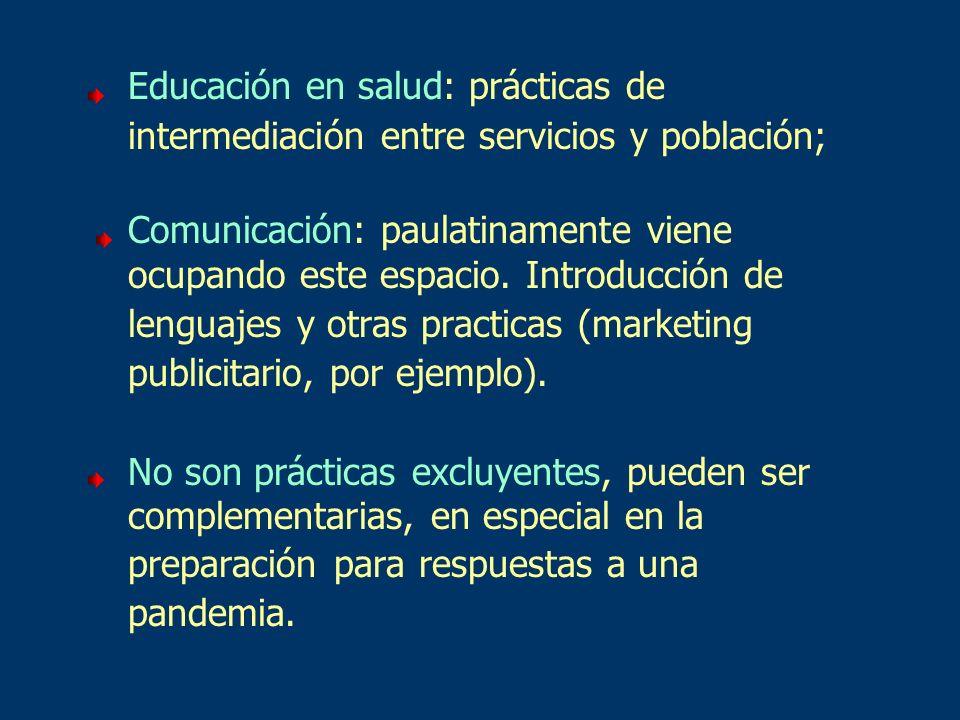 Educación en salud: prácticas de intermediación entre servicios y población; Comunicación: paulatinamente viene ocupando este espacio. Introducción de