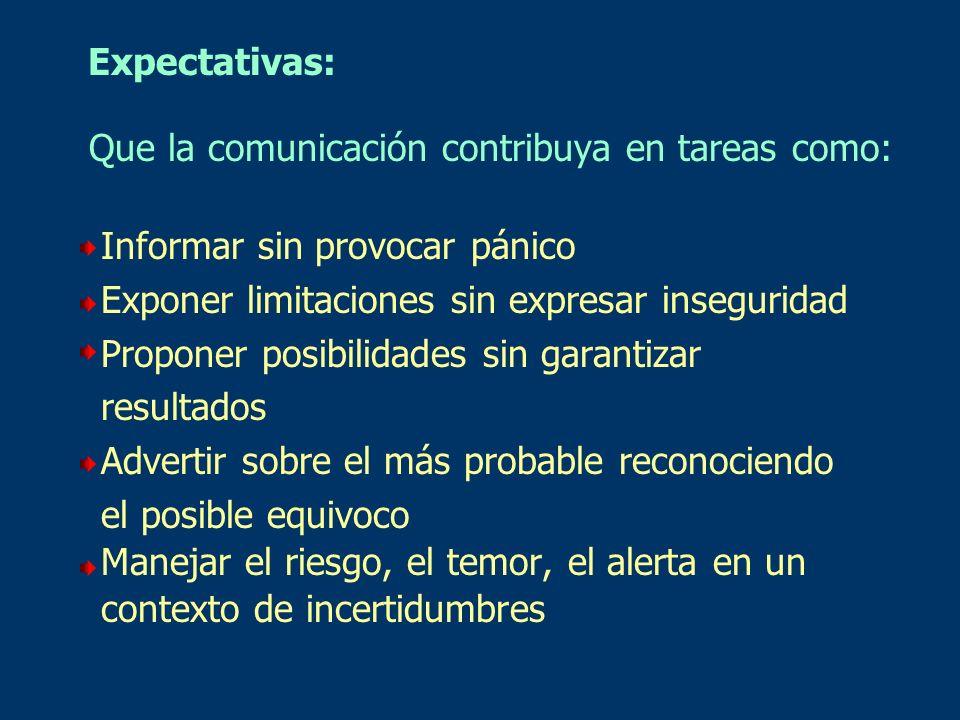 Expectativas: Que la comunicación contribuya en tareas como: Informar sin provocar pánico Exponer limitaciones sin expresar inseguridad Proponer posib