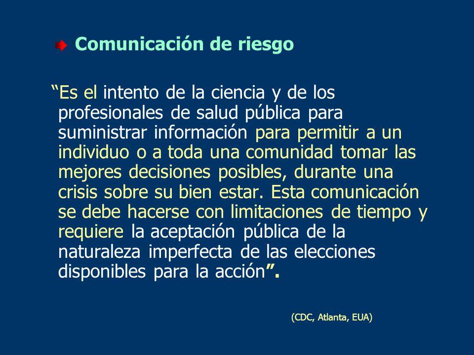 Comunicación de riesgo Es el intento de la ciencia y de los profesionales de salud pública para suministrar información para permitir a un individuo o