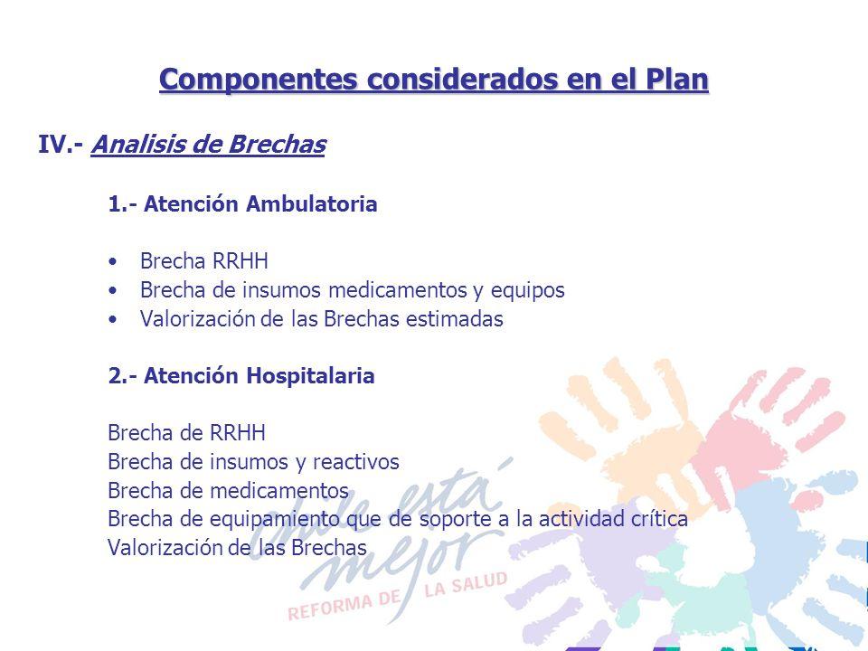 Componentes considerados en el Plan 1.- Atención Ambulatoria Brecha RRHH Brecha de insumos medicamentos y equipos Valorización de las Brechas estimada