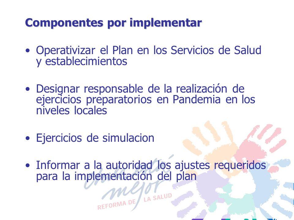 Componentes por implementar Operativizar el Plan en los Servicios de Salud y establecimientos Designar responsable de la realización de ejercicios pre