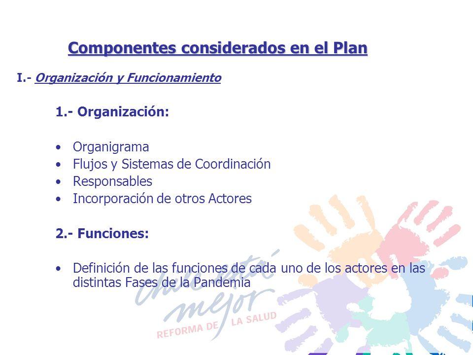 Componentes considerados en el Plan 1.- Organización: Organigrama Flujos y Sistemas de Coordinación Responsables Incorporación de otros Actores 2.- Fu