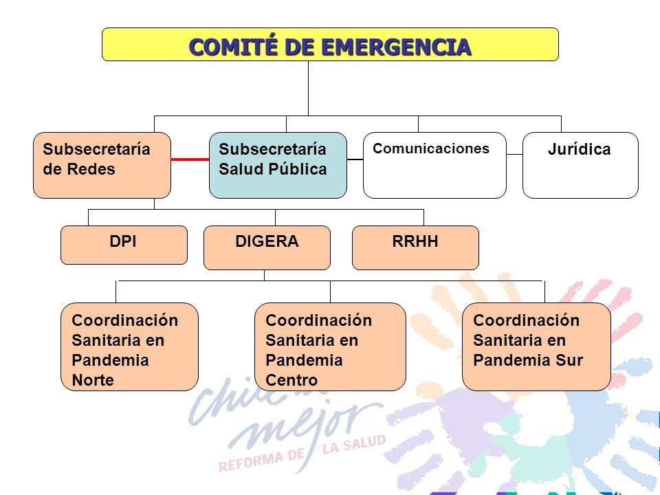 COMITÉ DE EMERGENCIA Subsecretaría Salud Pública Subsecretaría de Redes Comunicaciones Jurídica DPI DIGERA Coordinación Sanitaria en Pandemia Norte Co