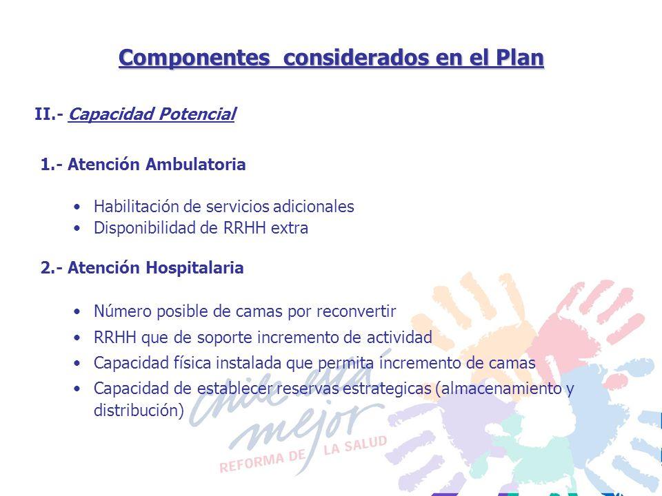 Componentes considerados en el Plan 1.- Atención Ambulatoria Habilitación de servicios adicionales Disponibilidad de RRHH extra 2.- Atención Hospitala