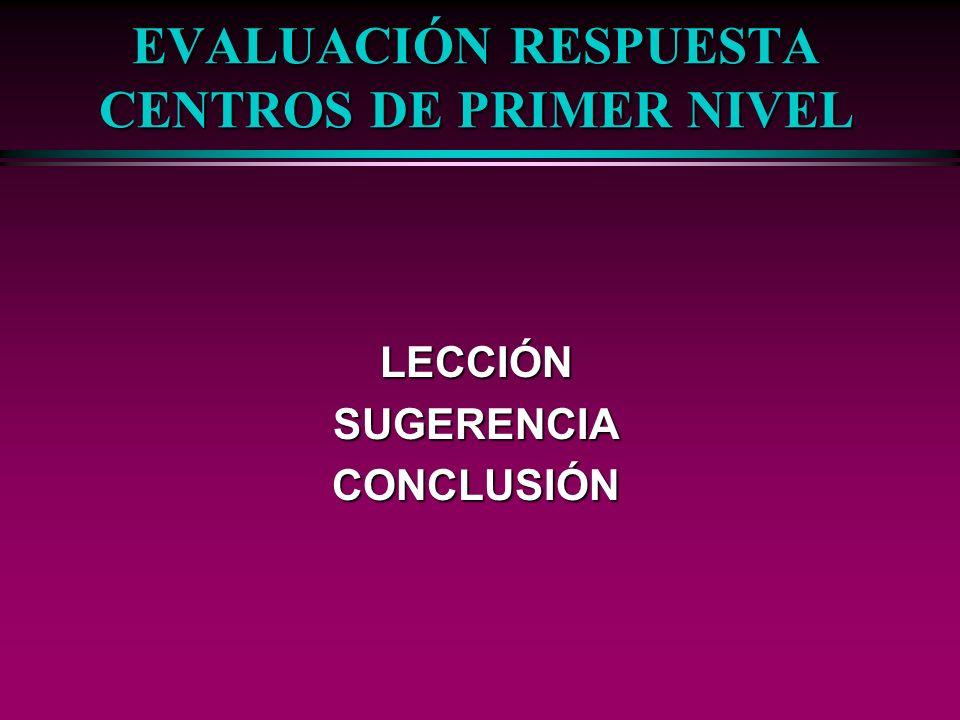 EVALUACIÓN RESPUESTA CENTROS DE PRIMER NIVEL LECCIÓNSUGERENCIACONCLUSIÓN