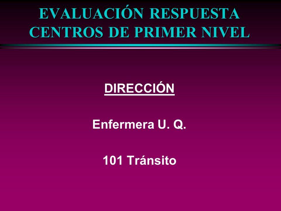 EVALUACIÓN RESPUESTA CENTROS DE PRIMER NIVEL DIRECCIÓN Enfermera U. Q. 101 Tránsito