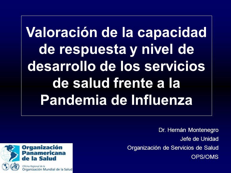 Valoración de la capacidad de respuesta y nivel de desarrollo de los servicios de salud frente a la Pandemia de Influenza Dr. Hernán Montenegro Jefe d