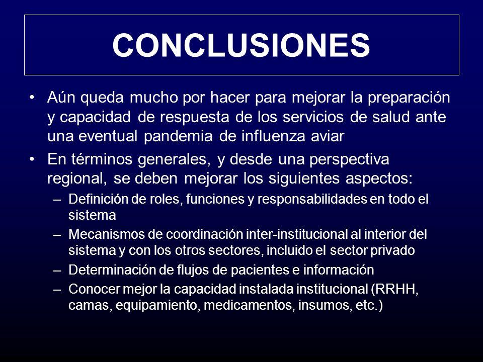 CONCLUSIONES Aún queda mucho por hacer para mejorar la preparación y capacidad de respuesta de los servicios de salud ante una eventual pandemia de in