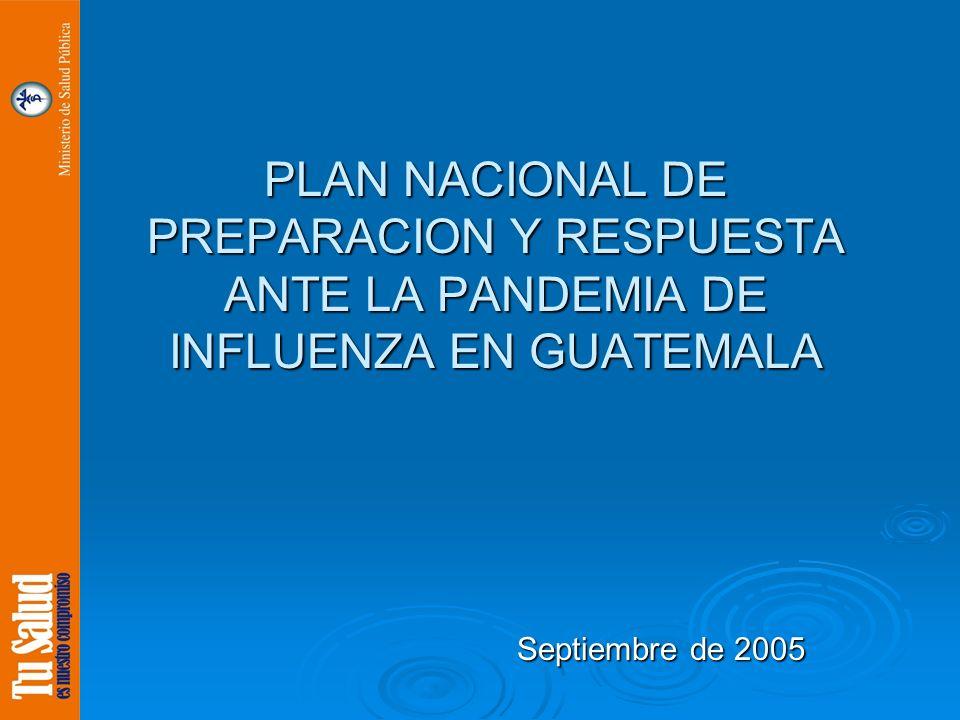 PLAN NACIONAL DE PREPARACION Y RESPUESTA ANTE LA PANDEMIA DE INFLUENZA EN GUATEMALA Septiembre de 2005 Septiembre de 2005