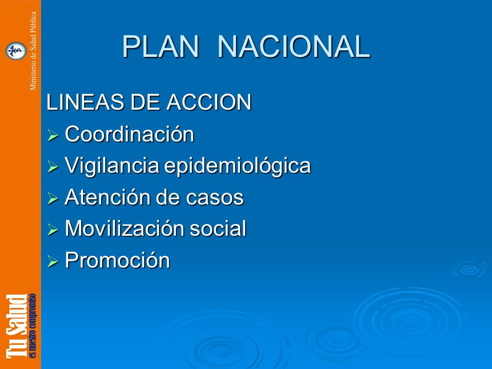 PLAN NACIONAL LINEAS DE ACCION Coordinación Coordinación Vigilancia epidemiológica Vigilancia epidemiológica Atención de casos Atención de casos Movil
